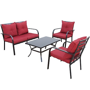 CorLiving PZT-457-S 4-Piece Patio Conversation Set, Charcoal and Red