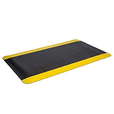 Floortex – Tapis antifatigue coussiné industriel FICUS2436BY, noir/bordure jaune
