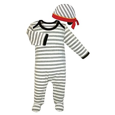 Stephan Baby Striped Footie & Cap, 0-3 Months