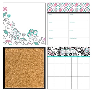Wall Pops Dry Erase 4-Piece Organization Kit, Floral Medley