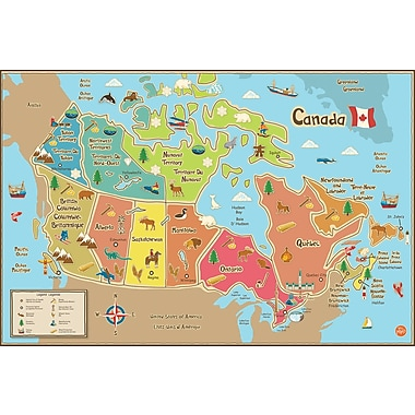 Wall Pops Kids Dry Erase, Map Canada