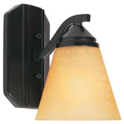 Designers Fountain Piazza 1-Light Wall Sconce; Oil Rubbed Bronze with Golden Shade