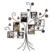 AdecoTrading 7 Opening Decorative Bronze-Color Iron Tree Photo Collage Wall Hanging Picture Frame
