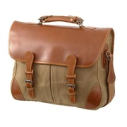 Mulholland Brothers Waxed Canvas Angler's Laptop Briefcase; Tan / Bridle Tan