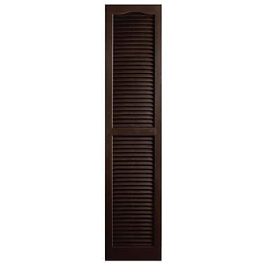 Alpha Shutters Exterior 14'' x 75'' Louvered Shutter (Set of 2); Brown