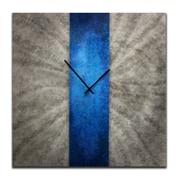 Metal Art Studio 22'' Stripe Wall Clock; Blue