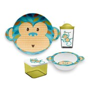 TarHong Friendly Faces New Zoo Monkey Childrens 4 Piece Dinnerware Set