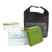 Fit & Fresh Men's 10 Piece Sporty Lunch Bag Set with Reusable Containers and Ice Pack