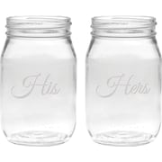 Culver Deep Etched 16 Oz. Jar Glasses (Set of 2)