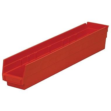 Akro-Mils Shelf Bin, 23-5/8 x 4-1/8 x 4,Red