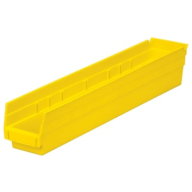 Akro-Mils Shelf Bin, 23-5/8 x 4-1/8 x 4, Yellow