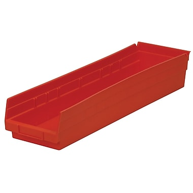 Akro-Mils Shelf Bin,23-5/8 x 6-5/8 x 4, Red