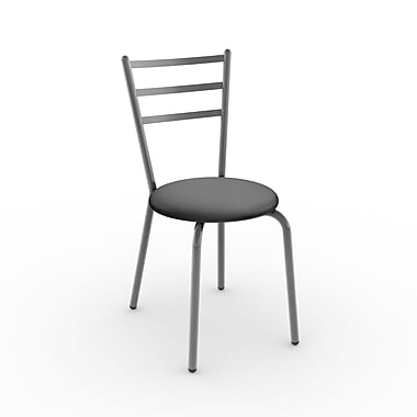 Amisco Sofia Metal Chair, Magnetite/Glossy Grey with Polyurethane Matte Charcoal Black Seat, Set of 2