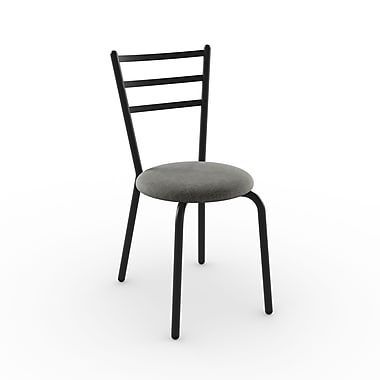 Amisco Sofia Metal Chair, Black Coral/Textured Black with Polyester Medium Grey Seat, Set of 2