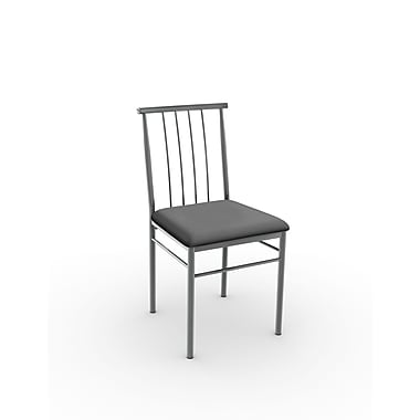 Amisco Alan Metal Chair, Magnetite/Glossy Grey with Polyurethane Matte Charcoal Black Seat, Set of 2