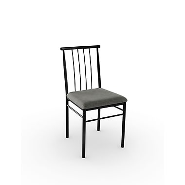 Amisco Alan Metal Chair, Black Coral/Textured Black with Polyester Medium Grey Seat, Set of 2