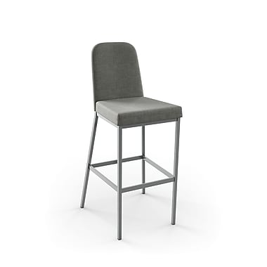 Amisco (40327-26WE/1B24BIF4) Spoon Metal Counter Stool, Glossy Grey/Medium Grey