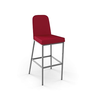 Amisco (40327-26WE/1B24HBF4) Spoon Metal Counter Stool, Glossy Grey/Red
