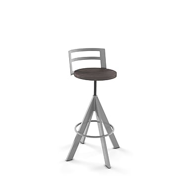 Amisco Scroller Metal Screw Stool, Magnetite/Glossy Grey with Medium Dark Grey Wood Seat
