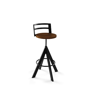 Amisco Scroller Metal Screw Stool, Black Coral/Textured Black with Medium Brown Wood Seat