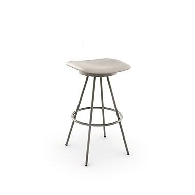 Amisco – Tabouret de comptoir pivotant Beacon en métal de 26 po, titane/gris clair mat avec siège en polyuréthane beige