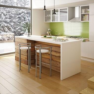 Amisco – Tabouret de comptoir Lolo en métal de 26 po, titane/gris clair mat avec siège en polyuréthane beige