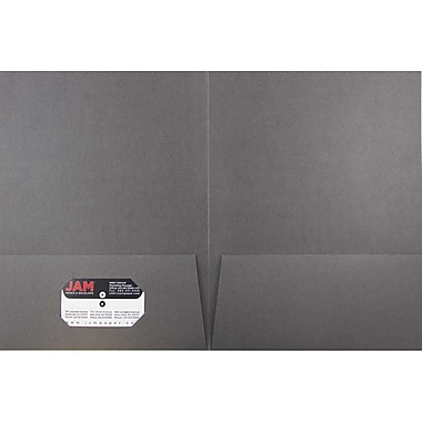 JAM Paper® Two Pocket Linen Folder, Gray, 6/Pack