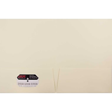 JAM Paper® Two Pocket Presentation Folders, Ivory Linen, 6/pack (19231D)