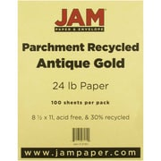 "JAM Paper® 24 lb. 8 1/2"" x 11"" Parchment Recycled Paper, Antique Gold, 100 Sheets/Pack"