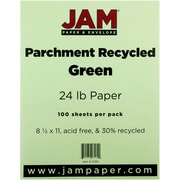 "JAM Paper® 8 1/2"" x 11"" 24 lb.. Parchment Recycled Paper, Green, 100 Sheets/Pack"