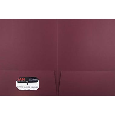 JAM Paper® Two Pocket Presentation Folders, Burgundy Linen, 100/pack (35113B)