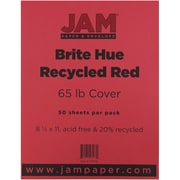 """JAM Paper® 65 lb. 8 1/2"""" x 11"""" Brite Hue Recycled Cardstock, Red, 50 Sheets/Ream"""