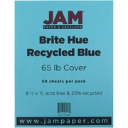 "JAM Paper® 65 lb. 8 1/2"" x 11"" Brite Hue Recycled Cover Cardstock, Blue, 50 Sheets/Pack"