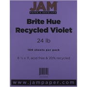 "JAM Paper® 24 lb. 8 1/2"" x 11"" Brite Hue Recycled Paper, Violet, 100 Sheets/Pack"