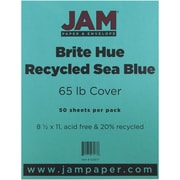 "JAM Paper® 65 lb. 8 1/2"" x 11"" Brite Hue Recycled Cover Cardstock, Sea Blue, 50 Sheets/Pack"