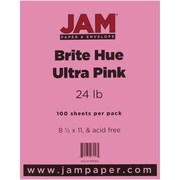 "JAM Paper® 24 lb.. Brite Hue Paper, 8 1/2"" x 11"", Ultra Pink, 100/Pack"