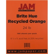 "JAM Paper® 24 lb. 8 1/2"" x 11"" Brite Hue Recycled Paper, Orange, 100 Sheets/Pack"