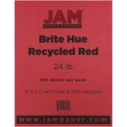 "JAM Paper® 24 lb. 8 1/2"" x 11"" Brite Hue Recycled Paper, Red, 100 Sheets/Pack"