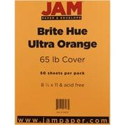 "JAM Paper® 65 lb. 8 1/2"" x 11"" Brite Hue Cardstock, Ultra Orange, 50/Pack"