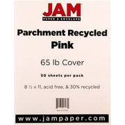"JAM Paper® 65 lb. 8 1/2"" x 11"" Parchment Recycled Cover Cardstock, Pink Ice, 50 Sheets/Pack"