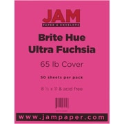 "JAM Paper® 65 lb. 8 1/2"" x 11"" Brite Hue Recycled Cover Cardstock, Ultra Fuchsia Pink, 50 Sheets/Pack"