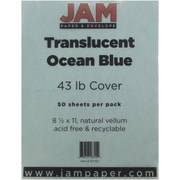 "JAM Paper® 8 1/2"" x 11"" Paper Chartham Color Translucent Cover, Ocean Blue, 250/Pack"