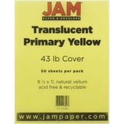 "JAM Paper® 8 1/2"" x 11"" Paper Chartham Color Translucent Cover, Primary Yellow, 250/Pack"