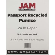 "JAM Paper® 24 lb.. Recycled Paper, 8 1/2"" x 11"", Pumice, 100/Pack"