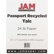 "JAM Paper® 24 lb. 8 1/2"" x 11"" Recycled Paper, Talc, 100 Sheets/Pack"