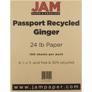"JAM Paper® 24 lb. 8 1/2"" x 11"" Recycled Paper, Ginger, 100 Sheets/Pack"