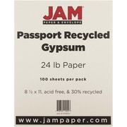 "JAM Paper® 24 lb. 8 1/2"" x 11"" Recycled Paper, Gypsum, 100 Sheets/Pack"