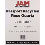 "JAM Paper® 24 lb.. Recycled Paper, 8 1/2"" x 11"", Rose Quartz, 100/Pack"