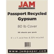 """JAM Paper® 80 lb. 8 1/2"""" x 11"""" Recycled Cardstock, Gypsum, 50 Sheets/Pack"""