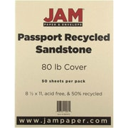 """JAM Paper® 80 lb. 8 1/2"""" x 11"""" Recycled Cardstock, Sandstone, 50 Sheets/Pack"""
